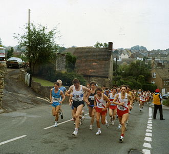 Road running - Athletes at the start of a 10-mile race in Gloucestershire in England, UK in 1990.