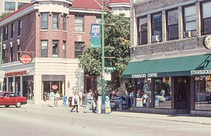 Seattle's Best Coffee - A Seattle's Best coffee shop next to a Starbucks in Lincoln Park, Chicago in 1997