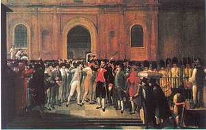 First Republic of Venezuela - 19 de Abril. Juan Lovera (1835). Lovera painted this scene from memory. Emparán (black uniform with red lapels) on the steps of the Cathedral surrounded by prominent members of the crowd which led him to the Cabildo. (Palacio Federal Legislativo, Caracas).