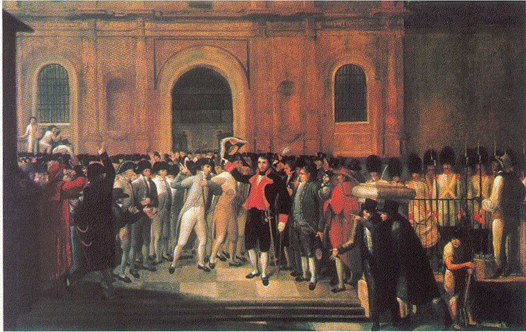 19 de Abril. Juan Lovera (1835). Lovera painted this scene from memory. Emparan (black uniform with red lapels) on the steps of the Cathedral surrounded by prominent members of the crowd which led him to the Cabildo. (Palacio Federal Legislativo, Caracas). 19 de abril.jpg