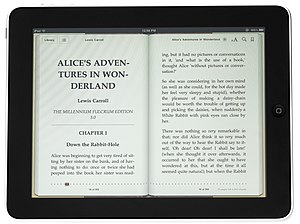 The iPad displaying an e-book in Apple Books.