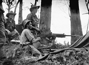2/2nd Machine Gun Battalion (Australia) - 2/2nd Machine Gun Battalion personnel operating a captured Japanese machine gun on Tarakan in 1945