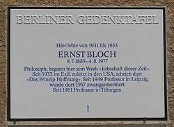 Photo of Ernst Bloch white plaque