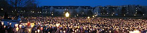 Timeline of the Virginia Tech shooting - Virginia Tech students mourn their fallen friends at a candlelight vigil.
