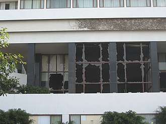 2008 Mumbai attacks - The damaged Oberoi Trident hotel