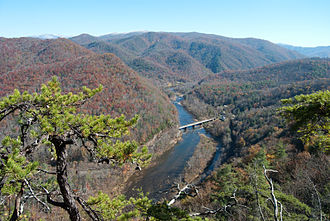 Nolichucky River - The Nolichucky, approaching Erwin, Tennessee from the east, as seen from the Appalachian Trail just south of Erwin