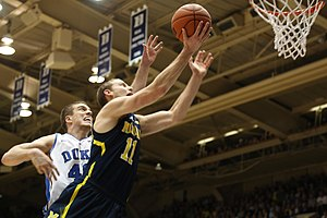 Nik Stauskas - Stauskas drives against Marshall Plumlee.