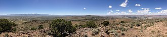 """Elko, Nevada micropolitan area - Image: 2014 06 13 12 33 59 Panorama south and west from the summit of """"E"""" Mountain in the Elko Hills of Nevada"""