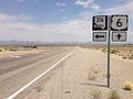 2014-07-17 13 07 30 View east along U.S. Route 6 at the junction with Nevada State Route 376 about 7.1 miles east of the Esmeralda County Line in Nye County, Nevada.JPG