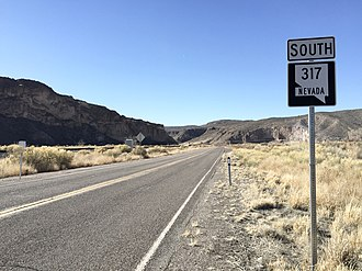 Nevada State Route 317 - View from the north end of SR 317 looking southbound