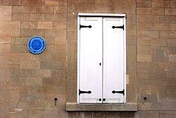 2015 at Chippenham station - Brunel's site office blue plaque.JPG