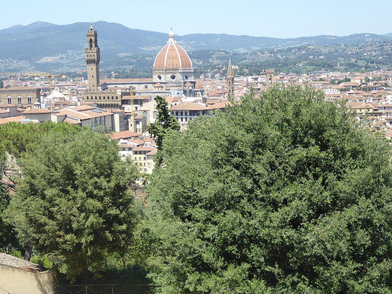 Giardino Bardini, view north on Torre di Arnolfo and the Duomo, Florence