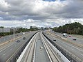 2018-10-29 13 59 27 View east along Virginia State Route 267 (Dulles Toll and Access Roads) and the Silver Line of the Washington Metro from the overpass for Virginia State Route 286 (Fairfax County Parkway) in Reston, Fairfax County, Virginia.jpg