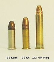 A .22 Long, .22 LR, and .22 Winchester Magnum, respectively.