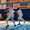 2nd Leonidas Pirgos Fencing Tournament. The fencer Stelios Foustanakis scores a touch.jpg
