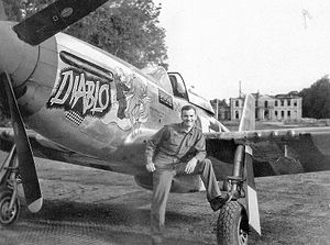 "Azeville Airfield - Colonel James B. Tipton commanding the 363d Fighter Group standing by his P-47D ""Diablo"" at Azeville Airfield A-7, France"