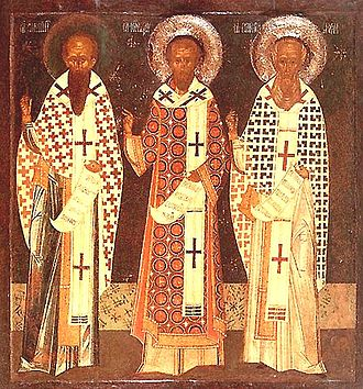 Gregory of Nazianzus - A Byzantine-style icon depicting the Three Holy Hierarchs: (left to right:) Basil the Great, John Chrysostom and Gregory the Theologian.