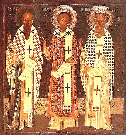 A Byzantine-style icon depicting the Three Holy Hierarchs: (left to right:) Basil the Great, John Chrysostom and Gregory the Theologian. 3HolyHierarchs.jpg