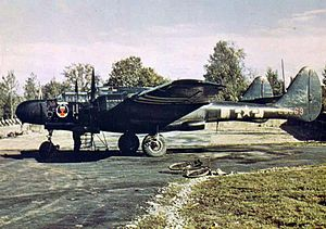 425th Night Fighter Squadron P-61 Black Widow 42-5569 with D-Day invasion stripes.jpg