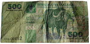 Flagship species -  500 Tanzanian shillings bank note showing the use of the African buffalo as a flagship species for the country's wildlife.