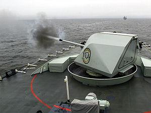 Bofors 57 mm gun - A 57 mm Mk 2 firing from a Halifax-class frigate
