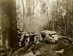 Bougainville counterattack - A US Army 75mm Howitzer firing at a Japanese position during the fighting in March 1944