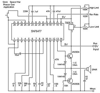 Texas Instruments SN76477 - Redraw of 76477 application for siren / phasor