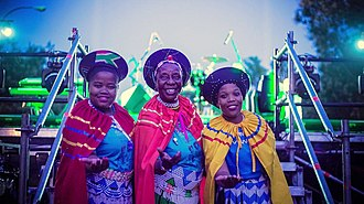Mbaqanga - The group Mahotella Queens, pictured in 2017, achieved international success with their take on the traditional mbaqanga sound.