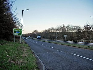 A167 road - A167 North of Durham exiting Pity Me Roundabout Northbound
