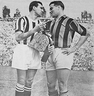 Gunnar Nordahl - Parola of Juventus (left) and Nordahl of A.C. Milan (right) during a friendly match at San Siro in 1950.