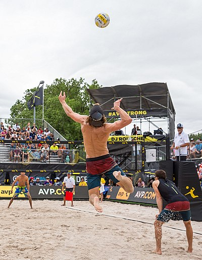 A player jump serving AVP Professional Beach Volleyball in Austin, Texas (2017-05-21) (35358811102) (cropped).jpg