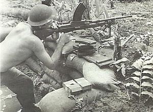 47th Battalion (Australia) - A Bren gunner covers a patrol from the 47th Battalion on Bougainville, January 1945