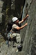A 1st Special Forces Group (Airborne) soldier climbs Castle Rock near Leavenworth Washington