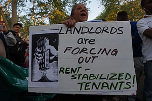Rent regulation - Protest sign at a rally for tenants rights in New York City