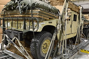 Rigging (material handling) - Image: A Humvee is rigged at the Heavy Drop Rigging Facility near Pope Field on Fort Bragg, N.C., June 7, 2012 120607 A FC254 001