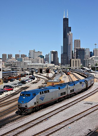 Lake Shore Limited - A Lake Shore Limited train backs into Union Station in Chicago, with the Willis Tower visible in the background.