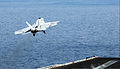 A U.S. Navy F-A-18E Super Hornet aircraft attached to Strike Fighter Squadron (VFA) 31 takes off from the aircraft carrier USS George H.W. Bush (CVN 77) in the Persian Gulf June 30, 2014 140630-N-CZ979-025.jpg
