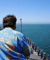 A family member of a U.S. Sailor observes Sailors as they man the rails aboard the amphibious dock landing ship USS Rushmore (LSD 47) during a friends and family day cruise off of the coast of California Aug. 8 120808-N-YQ852-047.jpg