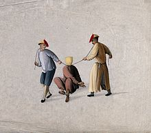 A hooded Chinese prisoner is strangled by two executioners Wellcome V0041472.jpg