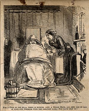 A man ill with a cold, wrapped in blankets as his servant at Wellcome V0011173.jpg