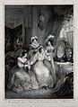 A seated woman at her dressing table surrounded by two women Wellcome V0019928ER.jpg