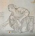 A woman kneeling, holding a vase. Drawing, c. 1793. Wellcome V0009300ER.jpg