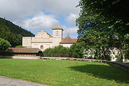The church of the former Bellelay Abbey in Saicourt municipality