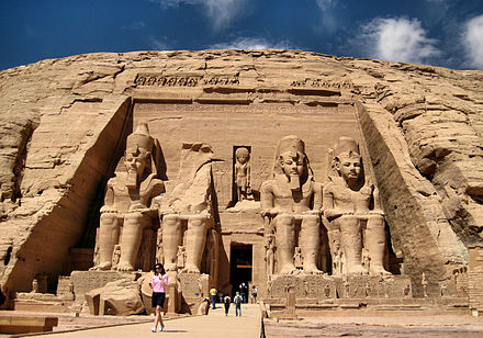 Colossal statues of Ramesses II at Abu Simbel, Egypt, date from around 1400 BC. Abu Simbel Main Temple (2346939149).jpg