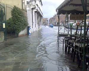 Acqua alta - Venice: the fondamenta Venier flooded on December 1, 2008.