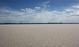 Gawler Ranges - Acraman Salt Lake with Gawler Range in background