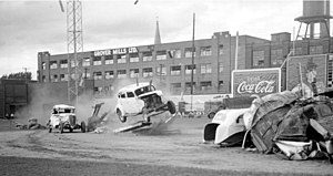 Stunt performer - Circus performers doing an automobile stunt in Delorimier Stadium, Montreal, in 1946