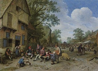 Village scene with a hurdy-gurdy player