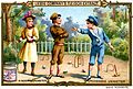 Advertising card depicting children fighting while playing croquet (14498613315).jpg