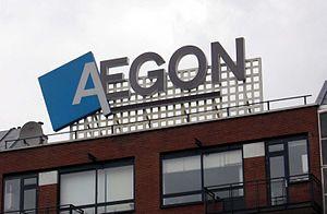 AEGON, reclame op gebouw in Rotterdam